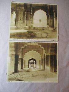 "Original Vintage PHOTOS Lot 2 DELHI INDIA Pearl Peacock Throne & Pool 7.5x 9.5"""