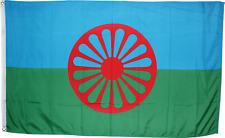 Roma Flag 3x5 ft Gypsy Romani People Banner Romany Gypsies Wheel Chakra Blue
