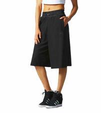 adidas Originals Women's 3-Stripe Culottes Shorts Pants Black Cotton XS S 6 8 10