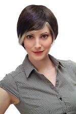 Extravagante Peluca de Mujer Bob Marrón con Azul/Weißblonden Mechas