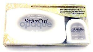 Tsukineko StazOn Permanent Solvent Ink Pad Set Reinker Opaque 181 mist Gray Grey