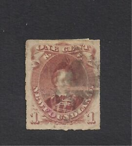 1876/79 NEWFOUNDLAND  1CENT BROWN LILAC USED/HINGED ROULETTED PRINCE  EDWARD