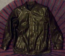 """vintage 80s black leather zip front cafe racer elastic waist bomber jacket 40"""""""
