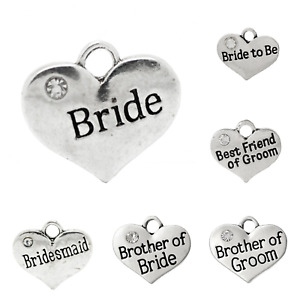 Wedding themed heart charms 15mm - 17mm x 14mm Antique silver x 4