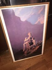 """Maxfield Parrish Framed Print """"Contentment"""" Edison Mazda Lamps-Advertise 1960's"""