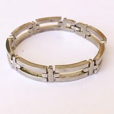"Sterling Silver Rectangle Link and Cross Bracelet 31.9 Grams 7.25"" Modernist"