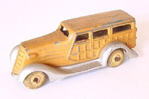 """1930s BARCLAY SLUSH METAL WOODY STATION WAGON TOY CAR 3"""""""