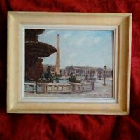 Superbe tableau années 50 signé Paris Place de la Concorde & Obelisque