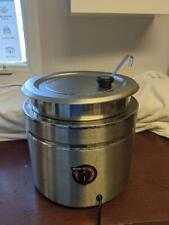 11 Qt. Stainless Steel Round Countertop Food Soup Kettle Warmer Commercial Used