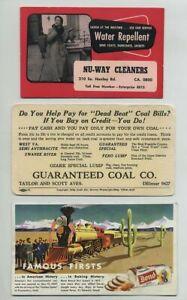 (3) Vintage Advertising Blotter Cards Coal Co St Louis MO Bond Bread etc yz6349