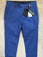 "TED BAKER ELECTRIC BLUE ""TINTEGA"" SLIM FIT TROUSERS PANTS CHINOS - 30R - NEW TAG"