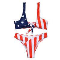 Women USA American Flag Bikini Set Push Up Padded Bathing Suit Swimwear Swimsuit