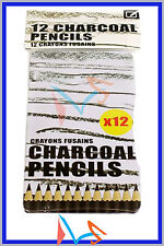 12 ARTISTS CHARCOAL PENCILS IN A METAL CASE. FOR ALL TYPE OF DRAWINGS