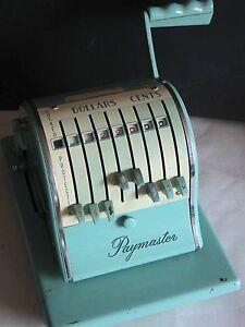 Vintage Paymaster Series X-2000 Check Writer with Key Aqua Turquoise FREE SH