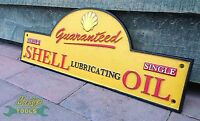 Domed Guaranteed Shell Lubricanting Oil Logo - Cast Iron Sign Plaque