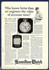 1925 HAMILTON WATCH advertisement, Milwaukee Olympian Engineer pocket watch