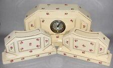 FRENCH MOULIN DES LOUPS CERAMIC CLOCK GARNITURE SET c1920