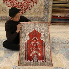 Yilong 2'x3' Red Handmade Silk Rug Religious Pray Indoor Home Carpet 279B