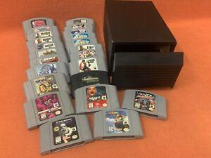 Nintendo 64 N64 Authentic Game Lot W/ Star Wars & 12-Game Wooden Storage Drawer!