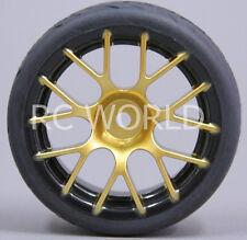 RC Car 1/10 WHEELS Tires SEMI-SLICK 3MM Offset GOLD w/ BLACK LIP  -SET OF 4-