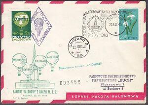 POLAND 1963.VI.22 Ballon KATOWICE, Mail Cat.37a Start POZNAN - PIEKARY landing