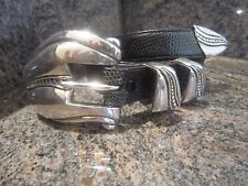 Huge!! Kieselstein Sterling Pecos Conchas Buckle with End Tip And Lizard Belt