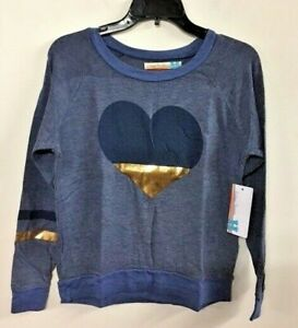NWT Vintage Havana Girls Super-Soft Sweatshirt Blue Heart Pull over S-L