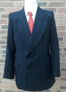 """VINTAGE 1940S MENS NAVY double breasted jacket white/red chalk stripe Demob 40"""""""