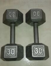 Set of 2 CAP 30 Lb Pound Cast Iron Hex Dumbbells Arm Curl Hand Pair Free Weights