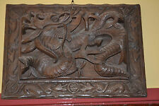 Large mid 20th century Chinese panel / plaque,heavily carved in relief, c 1950