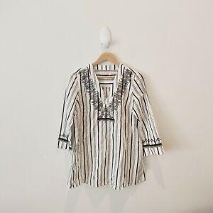 Sportscraft 3/4 Sleeve Cotton Striped Boho Tunic Top Blouse {Size 10}