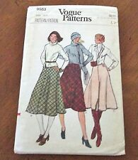 Vogue Vintage 70's Knee or Mid-Length Skirt Sewing Pattern #9583 Waist 26 1/2""