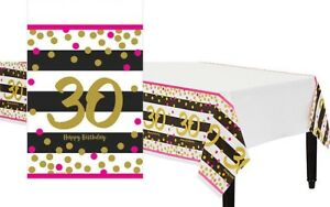 Pink and Gold 30th Birthday Table Cover ~ Milestone Thirtieth Table cover
