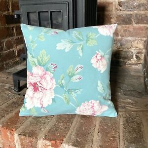Light Weight Cotton. Purples Floral Pretty Cushion Cover Duckegg Blue Fun