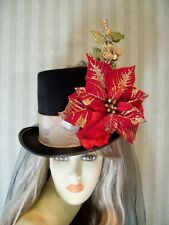 Christmas Top Hat, Poinsetta Holiday Top Hat, Dickens Festival Top, Tea Hat