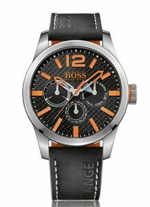 NIB Hugo Boss Orange Black Dial Leather Strap Men's Watch 1513228