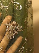 Fully Embroidered SAREE, Dupatta, Indian, Pakistani, Bollywood, NET FABRIC!