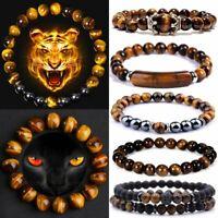 Tiger Eye Natural Stone Black Obsidian Hematite Beads Bracelets Men Women Gift