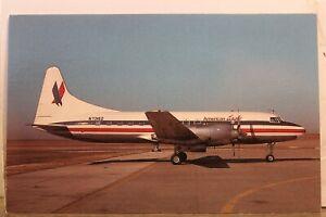 Texas TX Houston Metro Airlines American Eagle Convair 580 Postcard Old Vintage