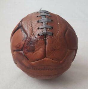 Vintage Thomlinson Temak Hand Sewn 12 Panel Brown Leather Football Size 4 1950s
