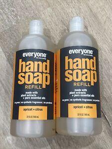 Everyone EO HAND SOAP REFILL APRICOT & CITRUS NATURAL 32 OZ Jumbo Size Lot Of 2
