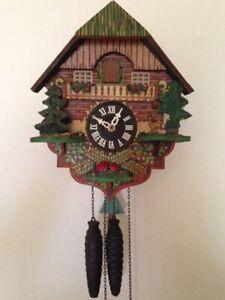 Vintage Hand Made Cuckoo Clock With Deer & Black Bear Design