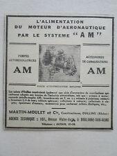 10/1936 PUB MARTIN MOULET OULLINS POMPE MOTEUR AERONAUTIQUE ORIGINAL AD