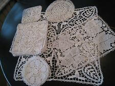 Early Set 19 Piece Mixed Hand Made Italian Reticella Needle Point Table Pieces