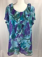 Cato Women's 22/24W Blouse Blue Purple Ruffle Neck Flutter Sleeves Top Shirt
