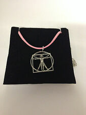 DA VINCI VITRUVIAN MAN DVMKR Pewter PENDENT ON A PINK CORD Necklace Handmade