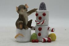 Charming Tails Marshmallow Snowman Mouse Rare