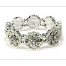 Silver Tone Pearl Beaded and Clear Rhinestone Stretch Bracelet