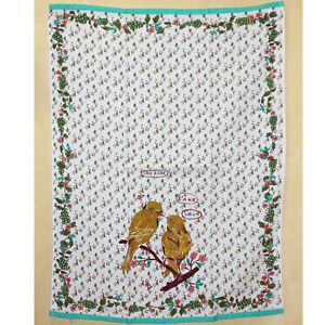 Anthropologie Nathalie Lete Yellow Love Birds Compagnon Dish Towel NWT Rare