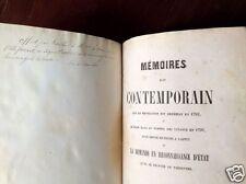 Livre rare; Mémoire d'un contemporain... par l'Ex-Baron de Richemont, 1846